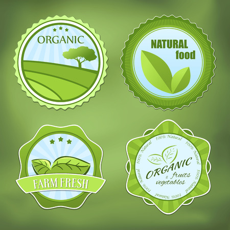 Different organic food labels with text Vector