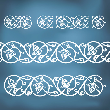 Seamless floral tiling borders. Inspired by old ottoman and arabian ornaments Vector