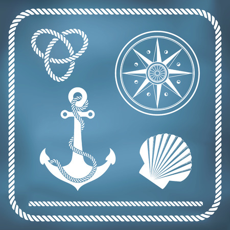 rope border: Nautical symbols - compass, anchor, rope knot, shell