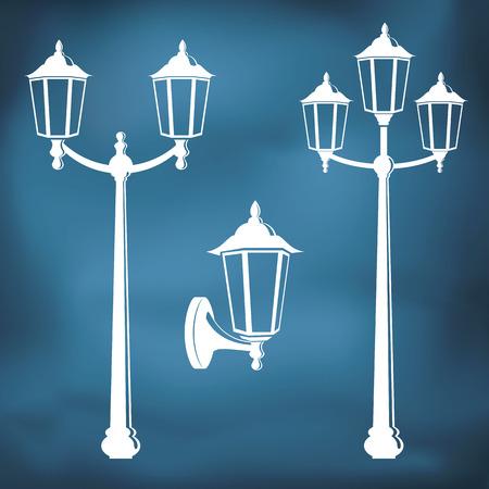 Graphic vintage street lanterns Illustration