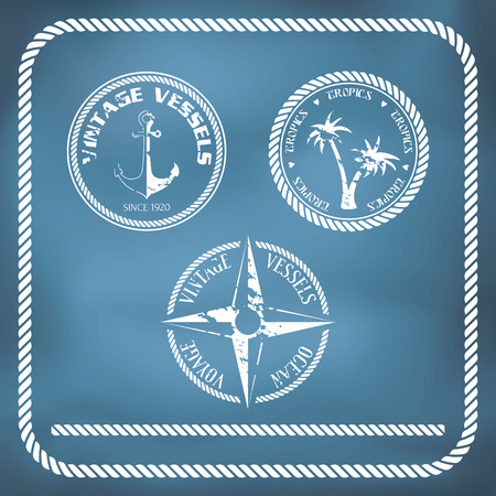 Sailing badges with anchor, compass, palm tree and rope border Illustration