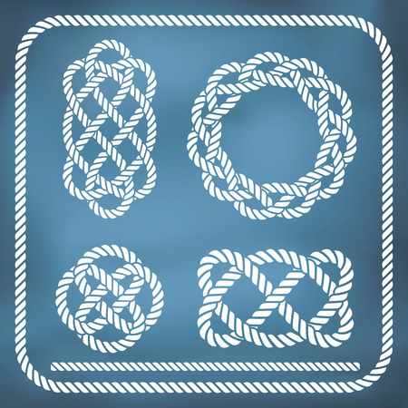 natural rope: Decorative nautical rope knots. Gradient mesh