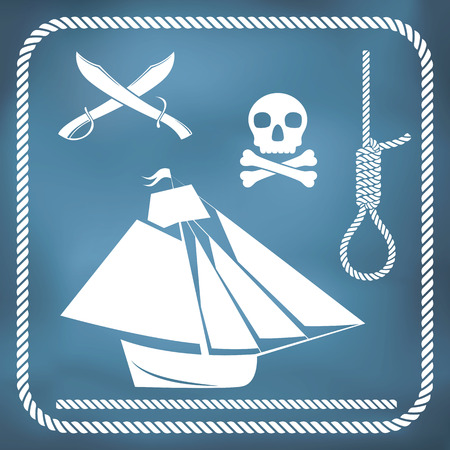 cutlass: Pirate icons - sloop, cutlass, hangmans knot and Jolly Roger Illustration