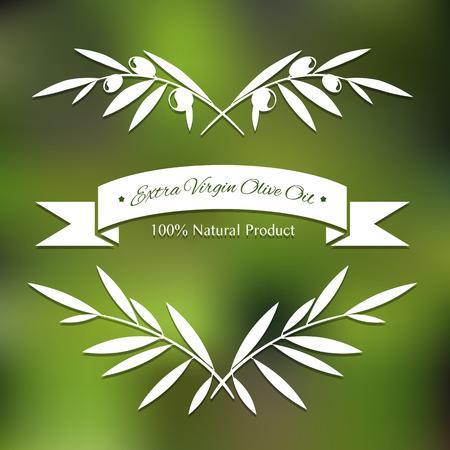 aceite de oliva virgen extra: Siluetas gr�ficas de las ramas de olivo