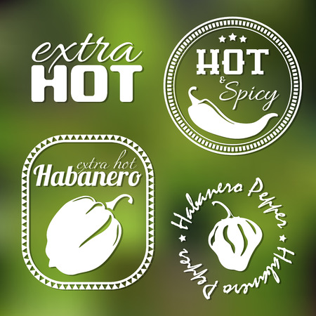 peper: Extra hot chili and habanero pepper labels. Gradient mesh