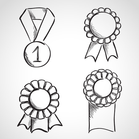 Set of sketch prize ribbons. Hand drawn illustration Vector