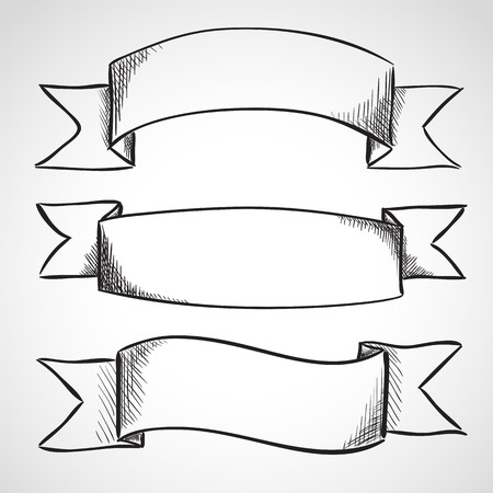 Hand drawn sketch ribbons, ink style Vector