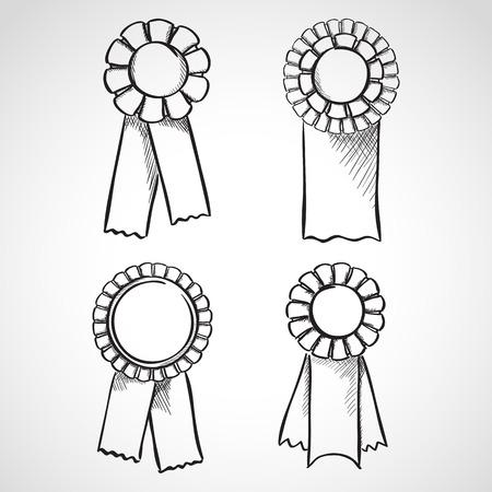 Set of sketch prize ribbons. Hand drawn illustration