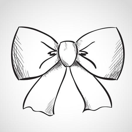 mani legate: Schizzo dell'arco del nastro, disegnati a mano, stile inchiostro