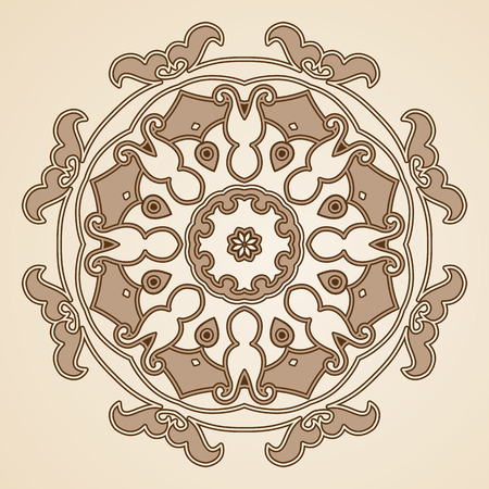 Round floral ornament. Inspired by old ottoman and arabian ornaments Vector