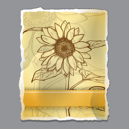 Sketch  sunflower background, hand drawn, ink style Vector
