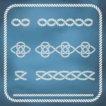natural rope: Decorative seamless nautical rope knots. Gradient mesh Illustration