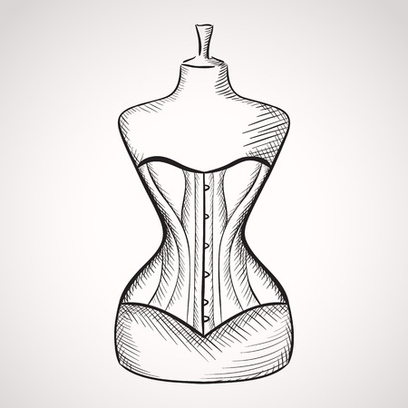 Hand drawn corset on mannequin.  Vector