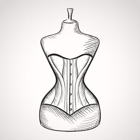 Hand drawn corset on mannequin.