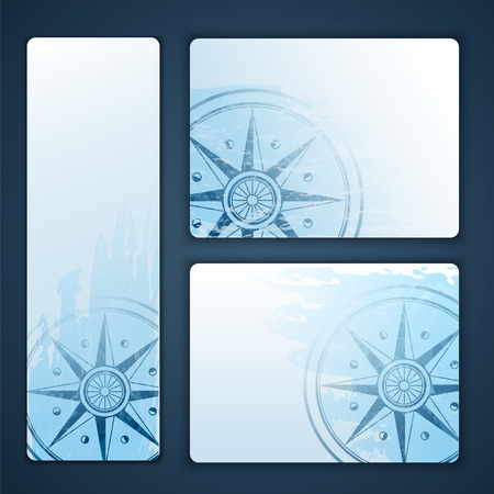 Nautical banners with wind rose compass Vector