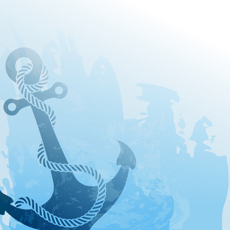 Nautical background with anchor and rope Stock Illustratie