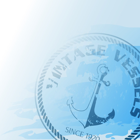 seafaring: Nautical background with anchor and rope Illustration