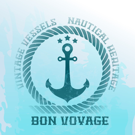 anchor marine: Nautical background with anchor and rope Illustration