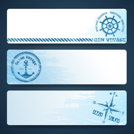 rope border: Nautical backgrounds with wind rose compass and anchor
