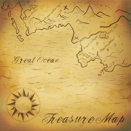 schatkaart: Oude schat kaart met de hand getekende elementen. Illustratie bevat gradiënt maas