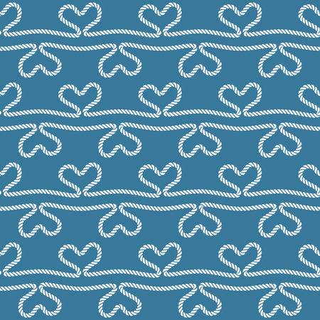 Seamless nautical rope pattern with hearts Vector