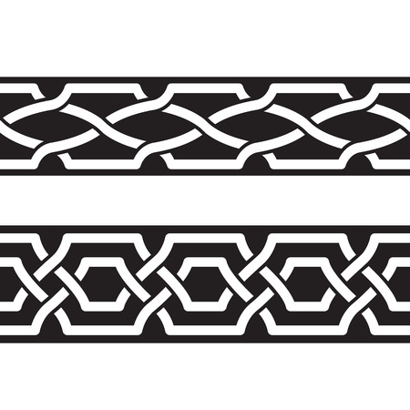 Seamless geometric tiling borders. Inspired by old ottoman and arabian ornaments Vector