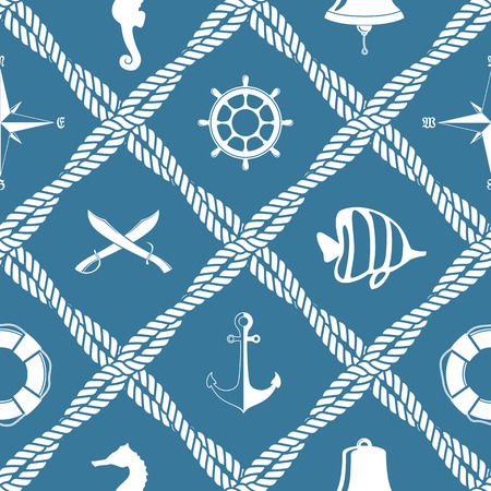 seafaring: Seamless nautical rope knot pattern with sea objects