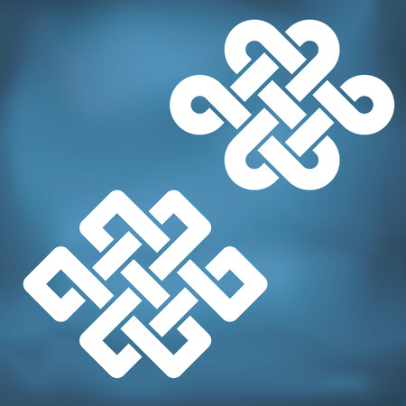The eternal knot also known as The endless knot, two versions
