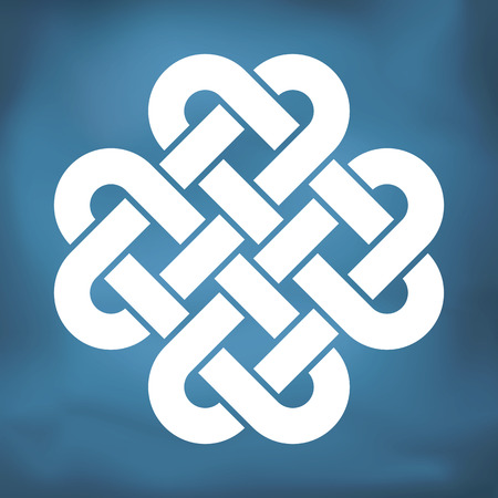 Dekorative keltische Liebesknoten, auch Vierbettsalomonische Knoten genannt