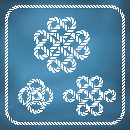 quadruple: Decorative nautical rope knots - The eternal knot, Celtic Love Knot. Gradient mesh Illustration