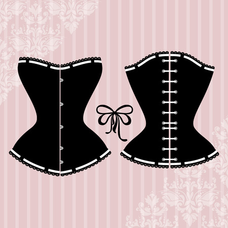 corset: Vintage background with elegant corset silhouette