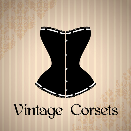 black woman lingerie: Vintage background with elegant corset silhouette