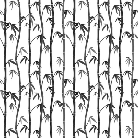 Seamless background with bamboo stems. Japanese Ink Painting Sumi-e Vector