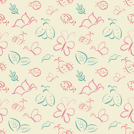 coccinellidae: Vector seamless tiling pattern with hand drawn butterflies and ladybugs (ladybirds). For printing on fabric, scrapbooking, gift wrap.