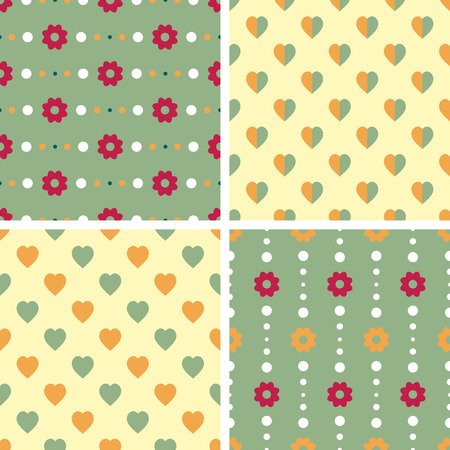 Vector seamless tiling patterns - romantic flowers. For printing on fabric, scrapbooking, gift wrap. Vector