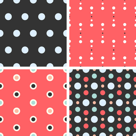 Vector seamless poka dot tiling patterns. For printing on fabric, scrapbooking, gift wrap. Vector