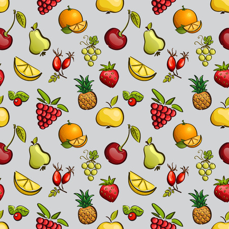 Vector seamless tiling patterns - fruits and berries. For printing on fabric, scrapbooking, gift wrap. Vector