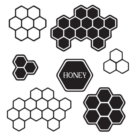 tally: Honeycomb silhouette icons for label, sticker or tag Illustration