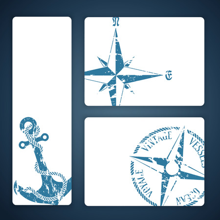 Nautical background with wind rose compass and anchor Vector