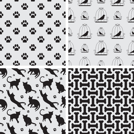 Seamless patterns with cat, bird, god foot path and bones for textile, wrapping paper, background