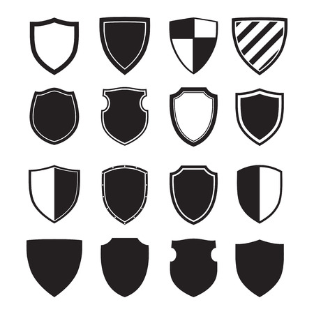 Shield silhouettes for signs and simbols (safety, security, military, medieval)