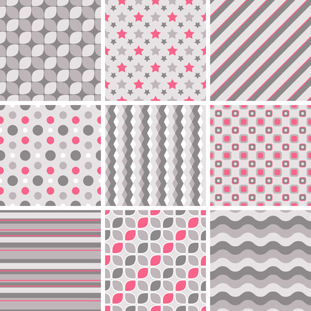 Vector seamless tiling patterns - geometric. For printing on fabric, scrapbooking, gift wrap. Vector