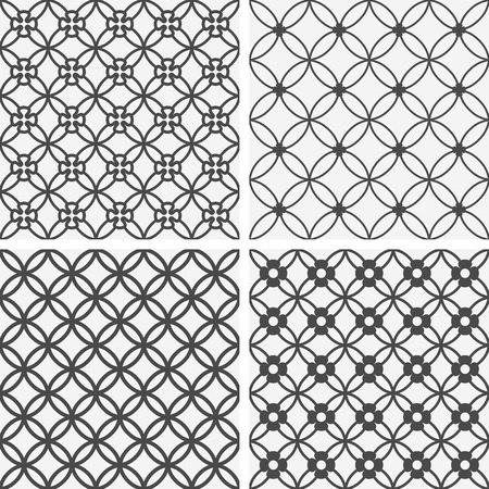 Vector seamless tiling patterns - geometric flowers. For printing on fabric, scrapbooking, gift wrap. Vector