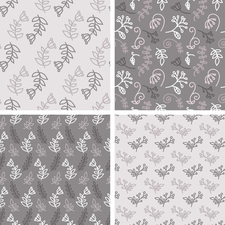 Vector seamless tiling patterns - sketch flowers. For printing on fabric, scrapbooking, gift wrap. Vector