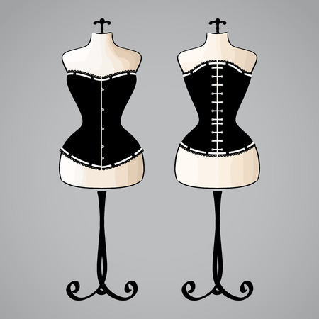 Corset on classic female mannequin Vector