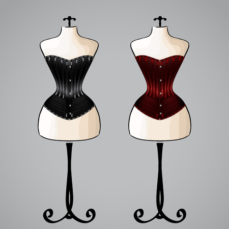 Corsets on classic female mannequins. Based on historical pattern Vector