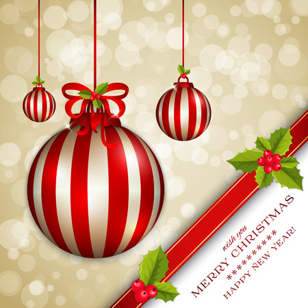 Merry Christmas card and Happy New Year card with holly berries, gold bokeh effect Vector