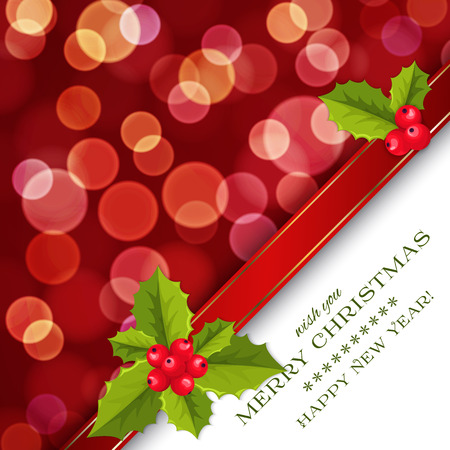 Merry Christmas card and Happy New Year card with holly berries, red bokeh effect Vector