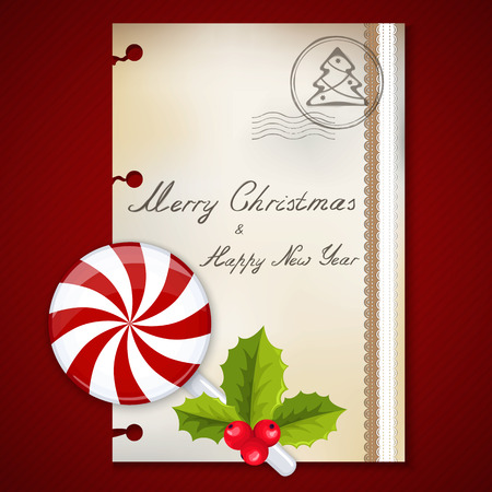 Merry Christmas card and Happy New Year background with holly berries Vector