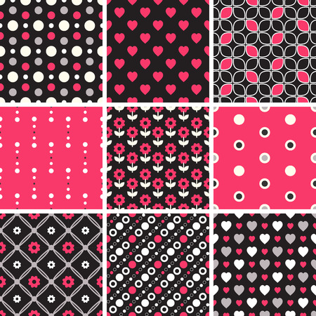 Vector seamless tiling patterns - geometric, polka dot, hearts. For printing on fabric, scrapbooking, gift wrap. Vector